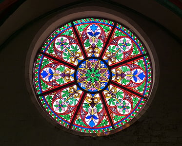 red, green, and blue floral tiffany wall window