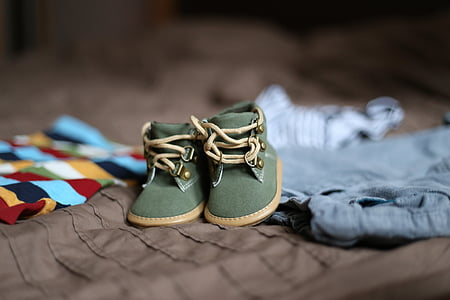 pair of toddler's green-and-brown suede work boots