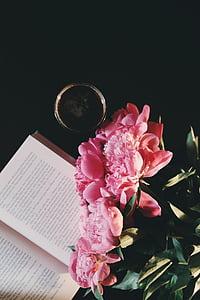 pink petaled flowers near book