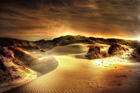 desert during orange sunset
