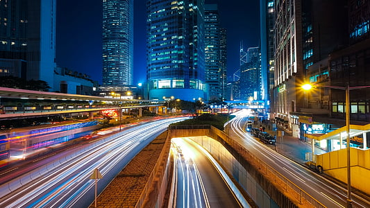 time lapse photography of city highway