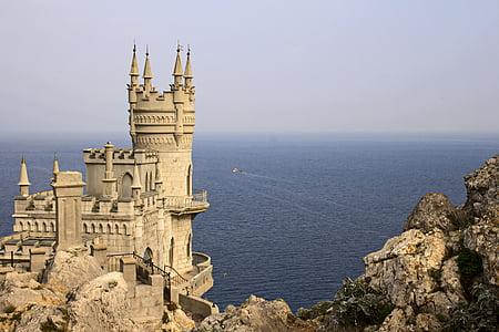 beige castle across the sea