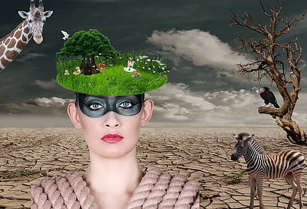 woman with black mask with with animal background edited photo