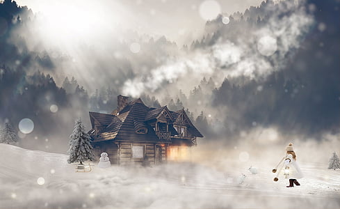 woman walking towards cabin during winter wallpaper