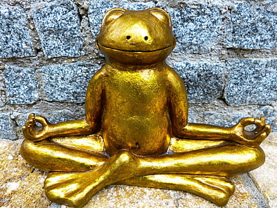 gold-colored frog figurine