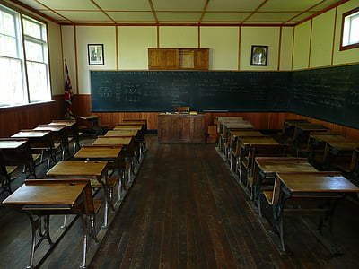 brown wooden school desk lot