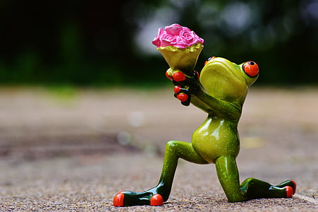 selective focus photography of frog holding flowers figurine