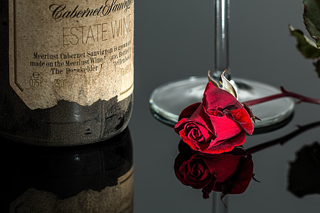red rose near wine bottle photo