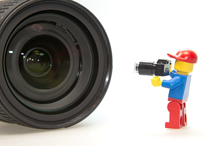DSLR lens in front of mini figure