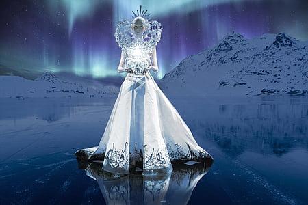 woman wearing white dress near mountain