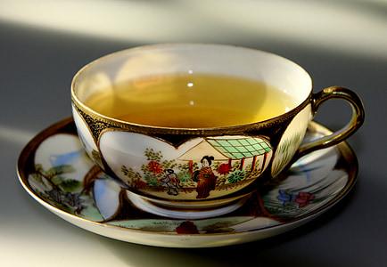 teal in tea cup