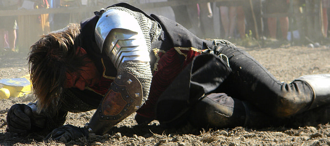 man with armor on the floor