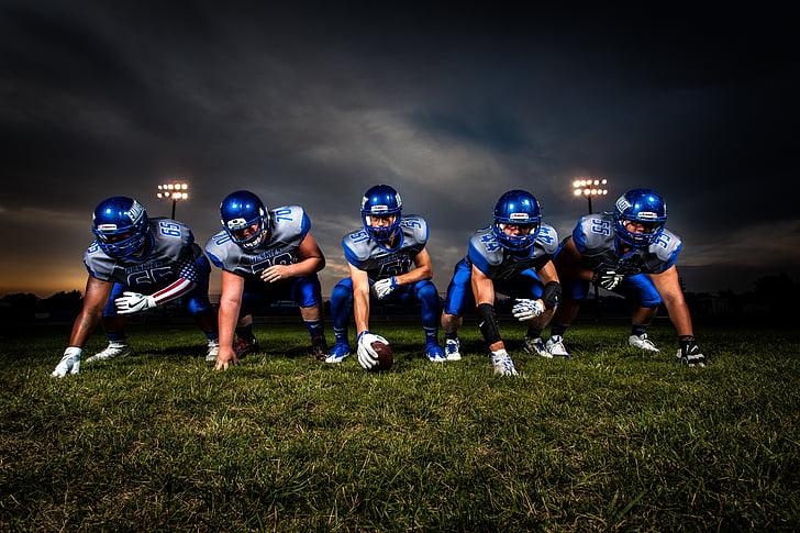 five football player