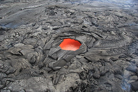 high angle view photo of cooled lava