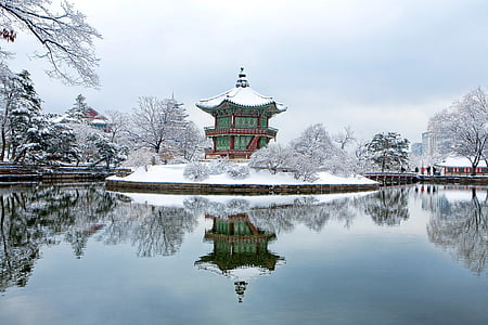 green and red snow covered temple in middle body of water
