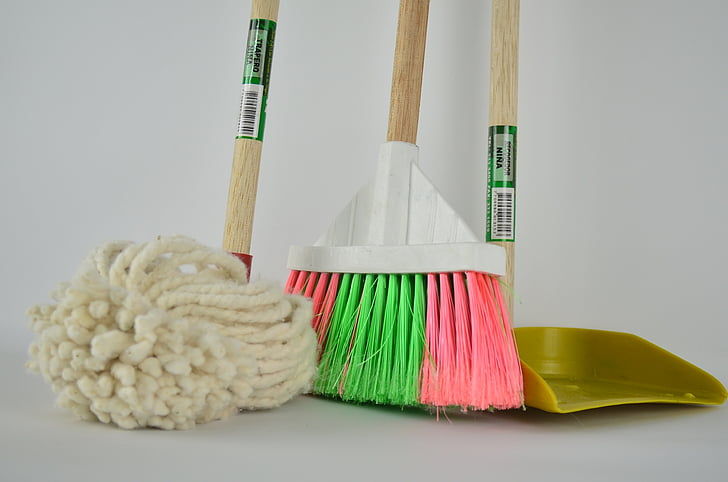 Royalty-Free photo: White floor map, broom and dustpan | PickPik
