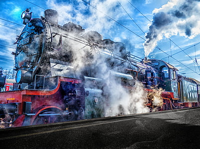 blue and red locomotive train under blue sky
