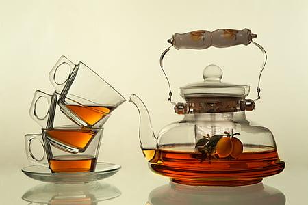 clear glass tea pot set