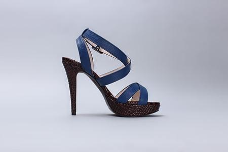 blue and brown peep-toe slingback stiletto-heeled sandal