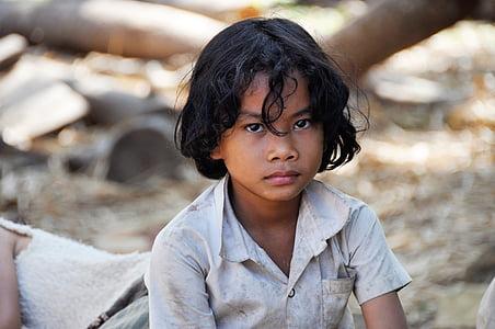 tilt-shift lens photograph of boy wearing white button-up shirt