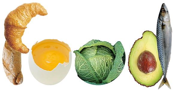 croissant, egg yolk, avocado, cabbage, and sardine