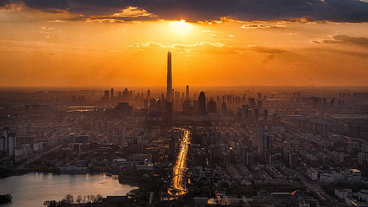 aerial photography of city skyline during sunset