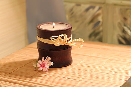 brown wooden candle holder