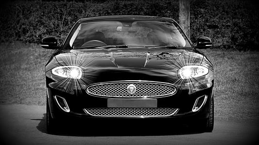 grayscale photography of Jaguar car