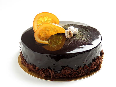 chocolate with sliced lemon on top
