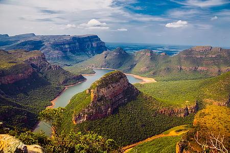 high angle photography of canyons