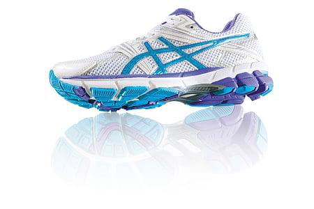 unpaired white, blue, and purple ASICS running shoe