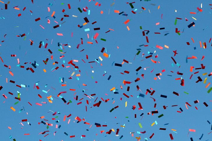 confetti on mid air