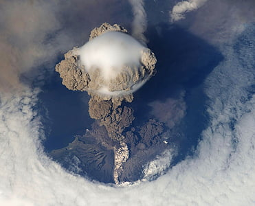 top view of gray and brown volcano
