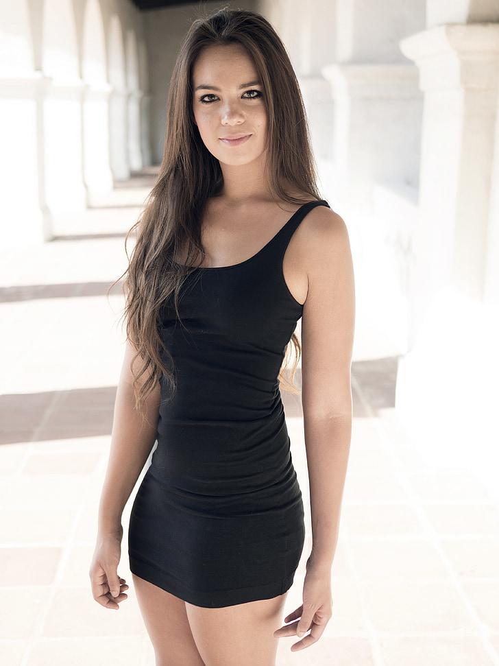 woman wearing black mini tank dress