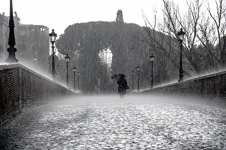 woman passing above bridge under umbrella during rainy weather conditioner