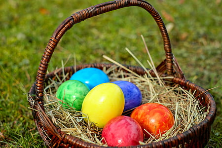 assorted-color Easter eggs in brown wicker basket on green grass