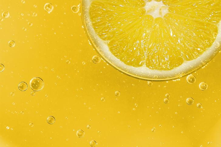 Lemon fruit in macro photography