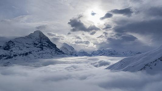 snow mountain peaks under cloudy sky