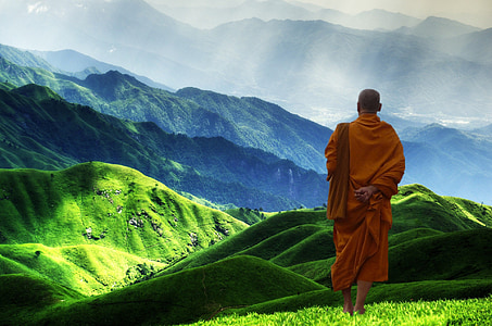 male monk standing on green mountain