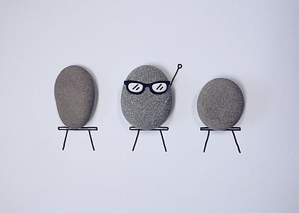 three gray stone pebbles