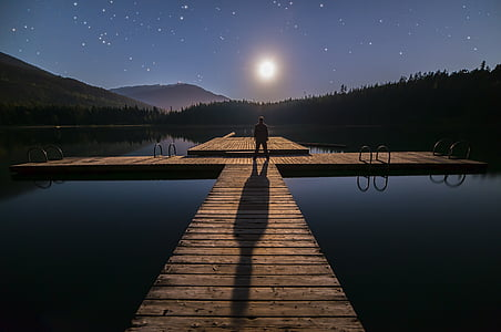 man standing on dock during night time