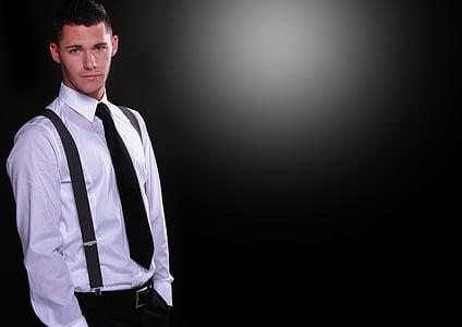 man wearing black necktie, white dress shirt, and black dress pants