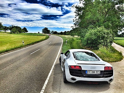 white Audi R8 on road during daytime