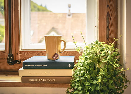 brown ceramic cup on book