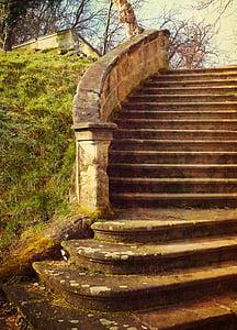 brown concrete staircase beside green grass