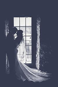 women's white bridal gown
