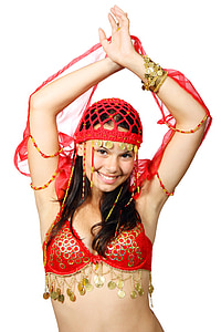woman in red traditional dress