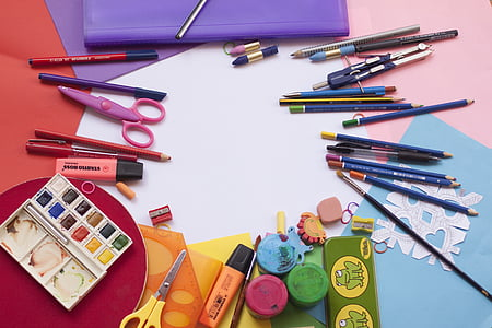assorted drawing materials