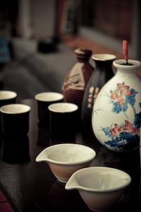 assorted-color of sake set