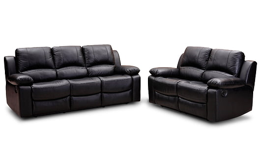 two black leather 2-seat and 3-seat sofas